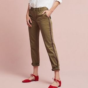 Anthro Chino Olive Side Stripe Slim Pants